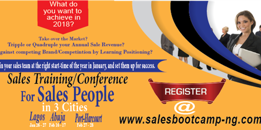 Sales BootCamp Nigeria 2018 Training Conference for Sales People in Cities